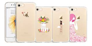 iphone 7 cases clear. esr\u0027s cartoon iphone cases play off the apple design on back of your phone. made out a clear polyurethane plastic with fun drawings, iphone 7