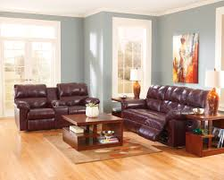 Top Grain Leather Living Room Set Charlotte Leather Reclining Sofa Manual Pushback Reclining