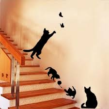 Wall Decor Stickers For Living Room 4 Black Fashion Wall Stickers Cat Stickers Living Room Decor Tv