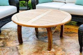 Tortuga outdoor jakarta teak round coffee table