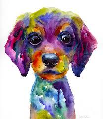 cute puppy painting colorful whimsical daschund dog puppy art by svetlana novikova