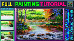 acrylic landscape painting tutorial with river and autumn trees basic acrylic painting beginners