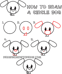 cute easy animal drawings step by step.  Easy How To Draw Circle Dogs Easy For Kids 1 Cute Animals Drawings Step By Intended Animal W