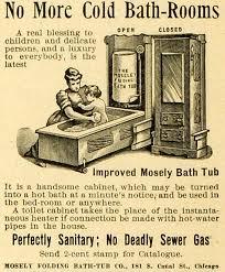 Period Bathroom Accessories 1893 Ad Mosely Folding Bathtub Chicago Cabinet Hot Bath Mother