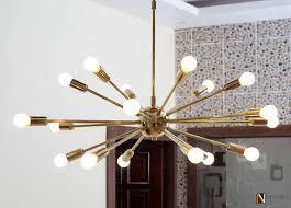 sputnik ceiling pendant light in brass