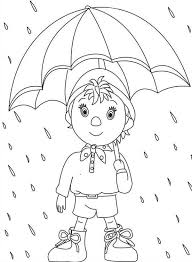 Small Picture Noddy Walking in the Rain with Umbrella Coloring Pages Bulk Color