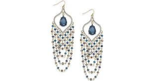 lyst inc international concepts gold tone teal beaded chandelier earrings in metallic