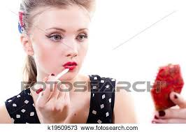 drawing applying pinup makeup fotosearch search clipart ilration fine art prints