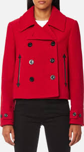 mcq alexander mcqueen women s short peacoat amp red eu 38uk 6 red obsessory