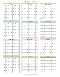 School Calendar Templates Academic Calendars For 2018 19 School Year Free Printable