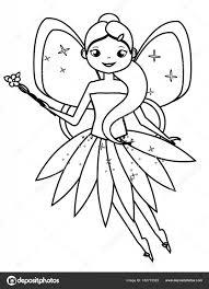 Pagina Da Colorare Con Carattere Fata Volante Carina Disegno Per I