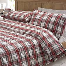 glencoe red tartan brushed cotton duvet cover set