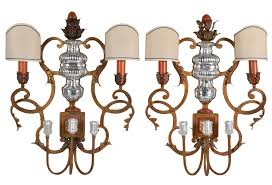 large pair bagues style 5 light wall sconces
