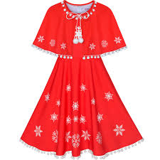 4 Year Girl Dress Size Chart Details About Us Stock Girls Dress Red Cape Cloak Christmas Year Holiday Party Size 4 14