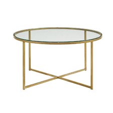 walker edison furniture company 36 in glass gold coffee table with x base