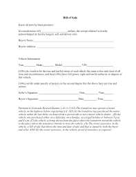 Auto Bill Of Sale Free Colorado Vehicle Bill Of Sale Form Download PDF Word 14