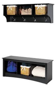 Bench And Coat Rack Set Amazon Prepac Sonoma Black Cubbie Bench and Wall Coat Rack Set 56