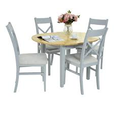 1 of 11free florence round extending table kitchen dining table and 4 chairs wood extension