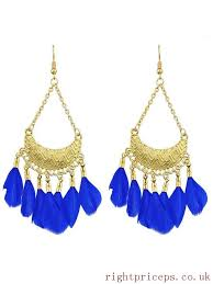 blue feather big chandelier earrings