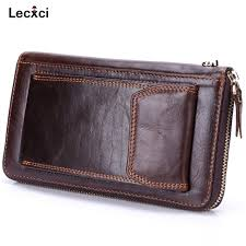 lecxci mens genuine leather clutch bag handbag organizer checkbook wallet card case wrist wallet bag with