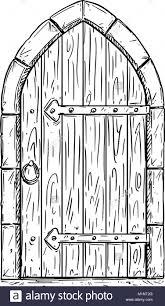 closed door drawing. Cartoon Vector Drawing Of Wooden Medieval Door Closed Or Locked - Stock Image T