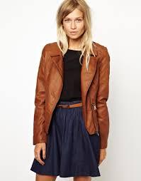 Asos Oasis Diamond Quilted Leather Look Jacket in Brown | Lyst & Gallery Adamdwight.com