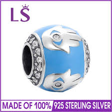 ls 100 925 sterling silver blue enamel bead charm fit original brand bracelet necklace authentic