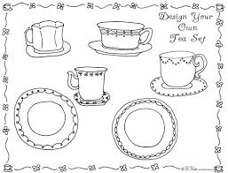 Design Your Own Tea Set Coloring
