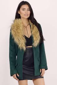 wintertime green faux fur wool coat