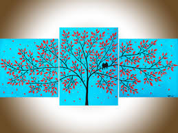 beautiful life by qiqigallery 36 x16 original tree and love birds wall painting colorful