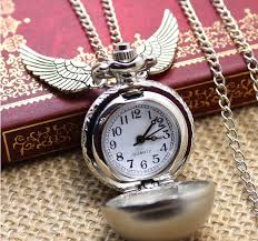 gifts and gadgets vintage bronze watch necklace pendant wings design uni