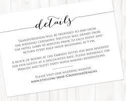 Wedding Insert Templates Details Card Insert Wedding Information Card Template Diy