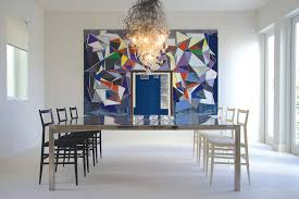 blown glass chandelier dining room contemporary with amy lau black and