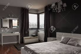 Expensive Bed Dark Expensive Bedroom With Black And Grey Walls Stock Photo