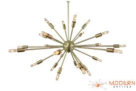 34 most ace starburst chandelier brushed brass sputnik in diameter with arms htm mid century modern