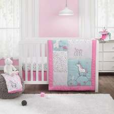 unicorn 3pc crib bedding set