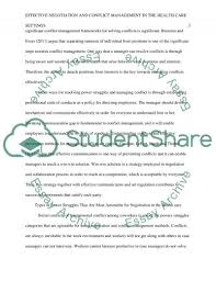 effective negotiation and conflict management in the health care essay  text preview