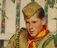 look at the great color in the scout s cheeks note the variety of colors in the olive green clothing and hat i love the rich oranges yellows and reds of