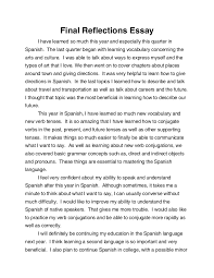 spanish final reflections essay