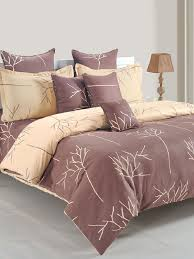 Image Carousell Tata Cliq Buy Swayam Chocolate Brown Printed Cotton Double Bed Linen Set Online At Best Price Tata Cliq