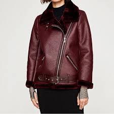 2018 faux leather suede coat aviator leather jacket women winter coat lambs wool fur collar suede jackets shearling coats outerwear from waxeer