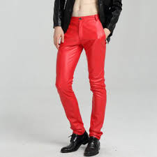 saan bibili 2218 white red blue black pants skinny faux leather pants for men slim fit joggers pu leather motorcycle biker tights trousers presyo ng