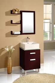 Bathroom Simple Dark Wood Bathroom Mirrors With Shelves And