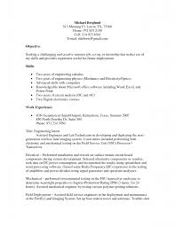 Objective Resume With Skills And Work Experience As Engineering