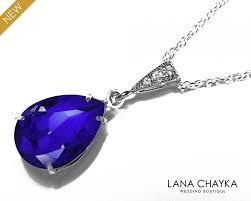 blue crystal teardrop necklace swarovski majestic blue silver cz pendant bridesmaids cobalt jewelry bridal royal blue necklace weddings 25 90 usd