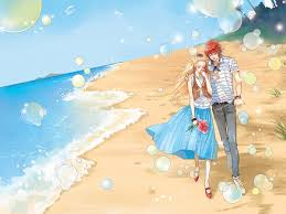 Image result for couple on the beach cartoon girl