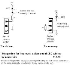 the ultimate wiring th updated 7 31 18 ultimate guitar here s a nifty way to wire leds for guitar pedals that doesn t have the led resistor er junction floating in mid air where it would cause undue stress