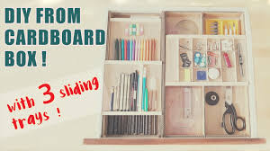 desk drawer organizer ideas awesome 3 level cardboard with sliding trays recycle throughout 12