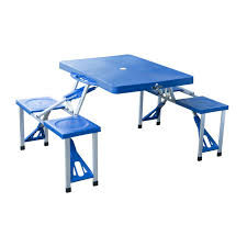 amazoncom outsunny portable lightweight folding suitcase picnic table w4 builtin chairs blue sports u0026 outdoors portable folding picnic table b12