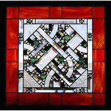 geometric stain glass red orange border stained panel artistic artisan designer window patterns free